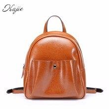 Kajie Лето 2017 г. масло воск кожа Женщины небольшой рюкзак для отдыха Стиль рюкзак для девочек натуральная кожа качество леди дорожная сумка