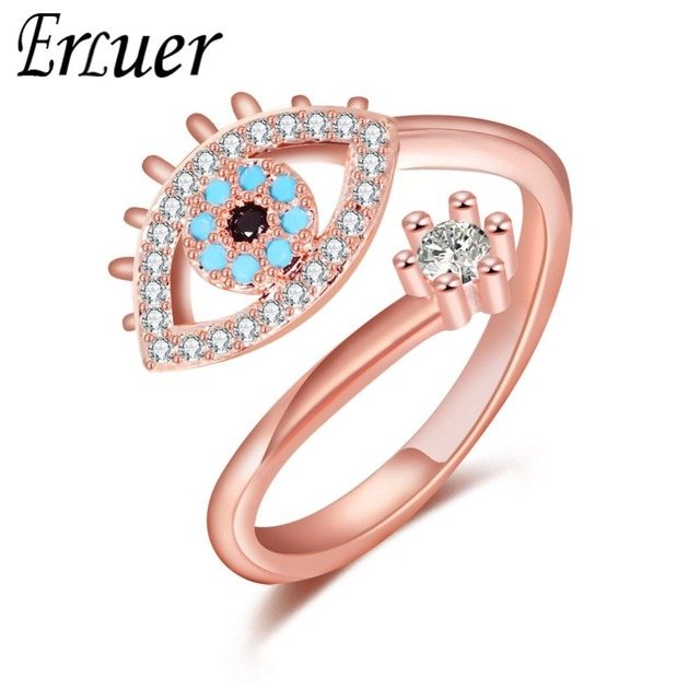 5128b1948 ERLUER Evil eye Rose Gold Open Finger Rings For Women Crystal CZ party  Fashion Jewelry female Trendy gift Adjustable ring