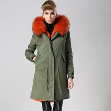 Lange down orange bont gevoerde parka voor dames winter dragen, dikte nep bont voor mr of mrs(China)