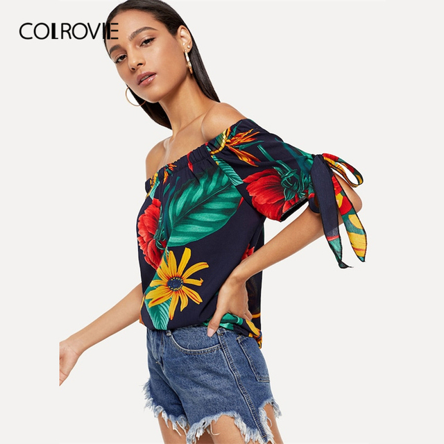 COLROVIE Knot Sleeve Floral Print Off the Shoulder Sexy Boho Blouse Shirt Women Tops Clothing 2019 Summer Half Sleeve Casual Tee
