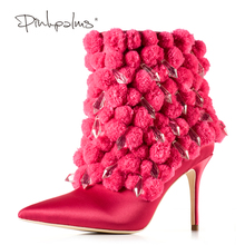 Brand Pink Palms Winter Boots Women High Heel Boots Pointed Toe Ankle Boots for Women Fashion Design Plush women boots