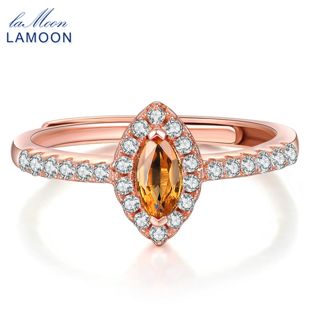 Lamoon 925 Sterling Silver Fine Jewelry Wedding Rings Horse Eye Shape Natural Citrine Fashion Women Amber
