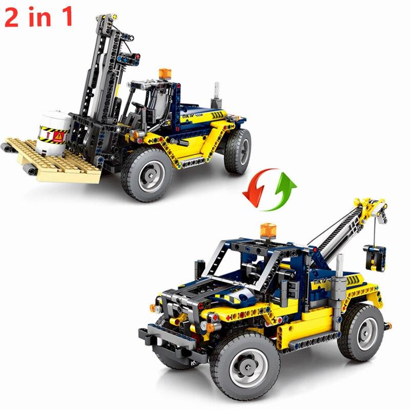 Technic Mechanical Engineering Forklift Crane Building Blocks Set Bricks Classic Car Model Kids Toys Gift