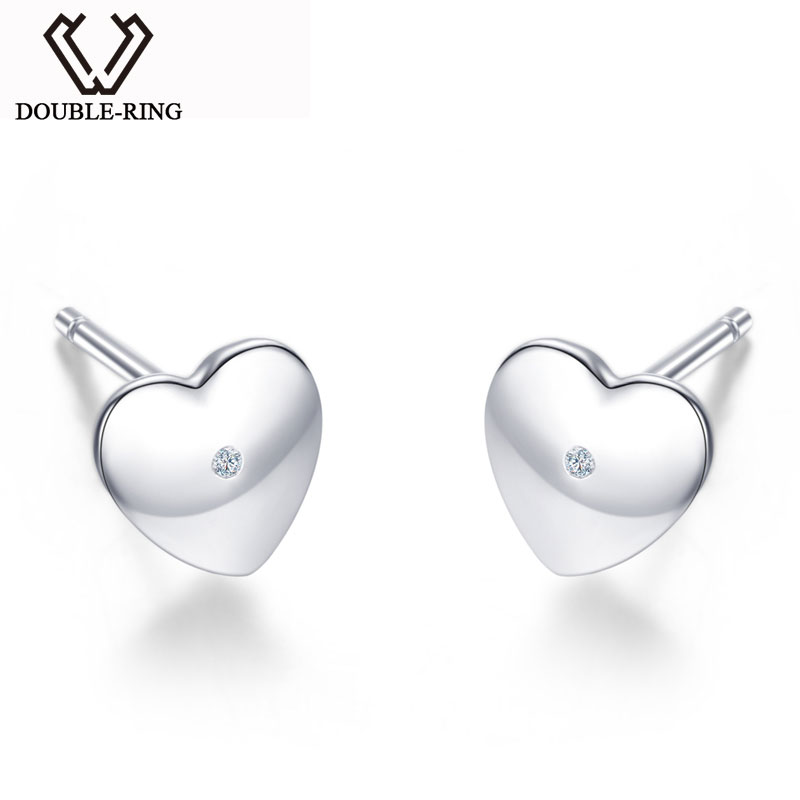 DOUBLE-R Heart 0.01ct Diamond Earrings Female 925 Sterling Silver Romantic Anniversary Stud Earrings Diamond Jewelry Customized