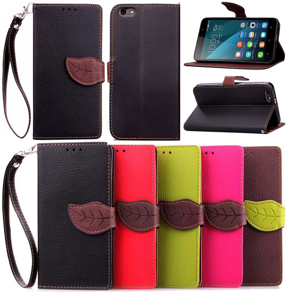 for Huawei 4x Luxury Leaf Style PU Leather Case for Huawei Honor 4x Cover With Stand Wallet Flip Holster Phone Case +Lanyard