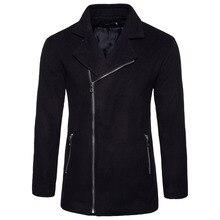 New men autumn winter casual solid  turn-down green black grey  oblique zipper woolen coat 1215A-F135