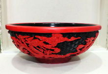 Chinese Carved Flower Red Cinnabar Lacquer Dragon Bowl Candy Box