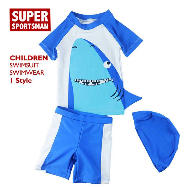 الصيف 2019 Rashguard طفل رضيع الكرتون القرش المايوه الاطفال سروايل السباحة القصيرة + قمم + قبعة الأطفال السباحة تصفح ثوب السباحة ملابس السباحة
