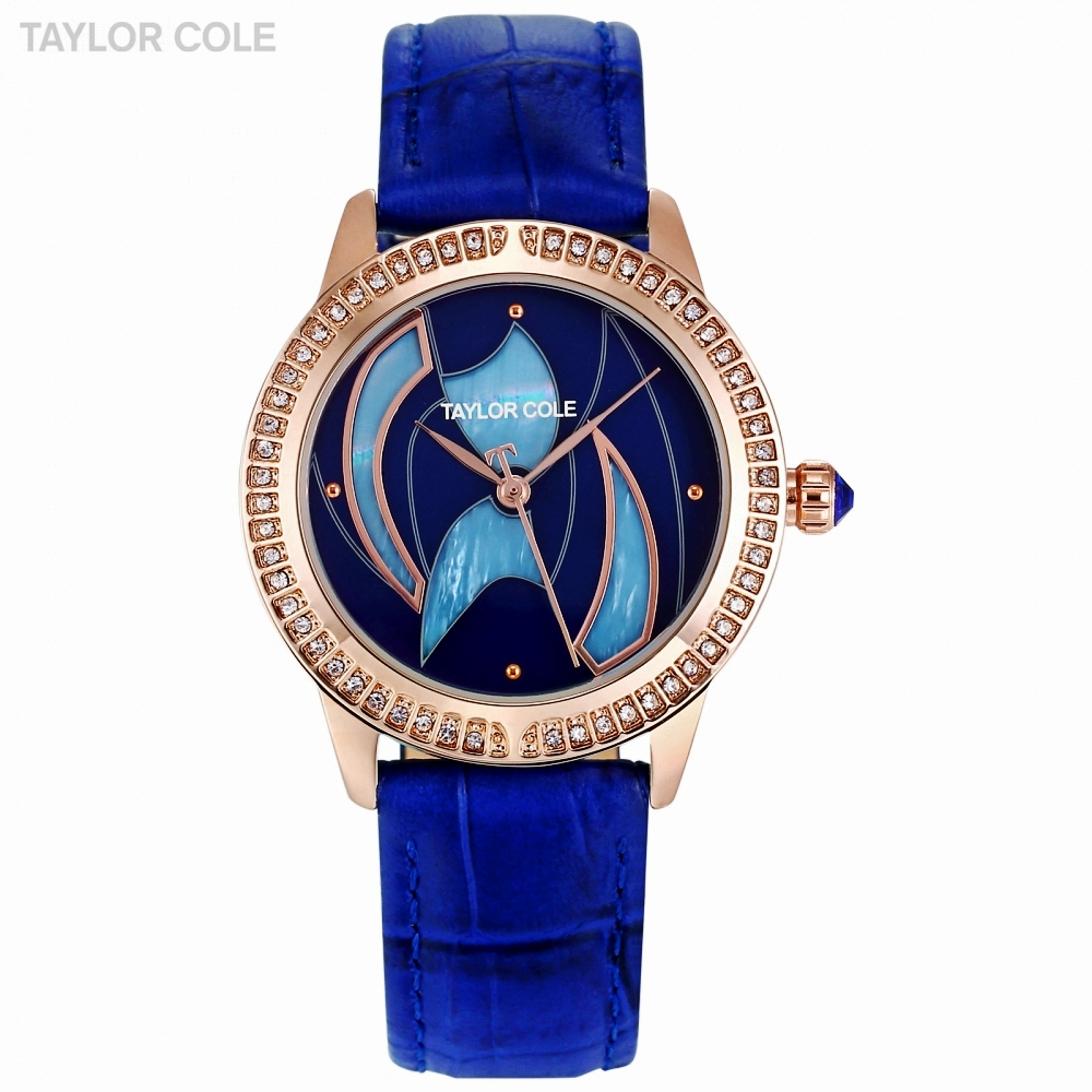 Taylor Cole Brand Fashion Design Crystal Dial Women Watches Luxury Blue Leather Ladies Watch Dress Clock relogio feminino /TC121 taylor cole relogio tc013