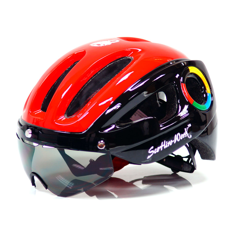 MTB Cycling helmet Mens Bicycle Helmet lens grey visor glasses Downhill Mountain Road Bike Helmet casque route Cascos Ciclismo image