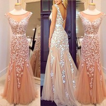 Mermaid See Through lace Prom Dresses Real Photos 2015 Abendkleider Champagne Gowns with Appliques Vestidos De Festa Zpi-2