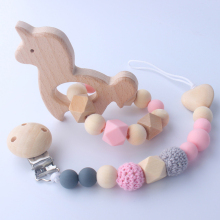 Baby Handmade Silicone Pacifier Chains Beech Toy Silicone Nipple Chain Set Wooden Infant Baby Teether supplies foreign trade hot silicone tooth gum baby nipple chain nipple clip pacifier accessories