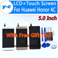 Para huawei honor 4c display lcd + digitador da tela de toque 100% nova painel de toque de vidro para huawei honor 4c 1280x720 hd 5.0 polegadas