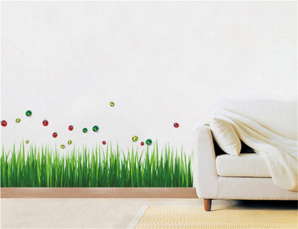 green grass butterfly vinyl wall stickers for kids rooms children