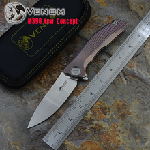 Kevin John VENOM  new conc M390  Titanium Flipper folding knife ceramic ball bearing camping hunting pocket knife EDC tools