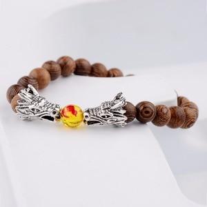 Image 4 - Wood Beads Bracelets Meditation Gold&Silver Color Dragon Beads Bracelet Women Prayer Jewelry Yoga Dropshipping