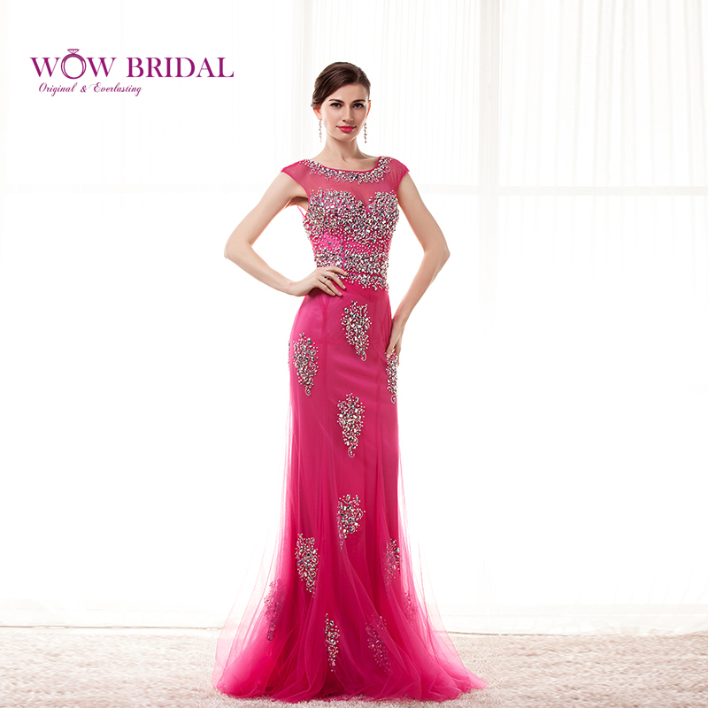 Wowbrial Graceful Opera Pink Long Evening Dress 2015 Scoop Crystal Neck Pattern Beaded Chiffon Mermaid Ruffles Women Formal Gown Evening Dresses
