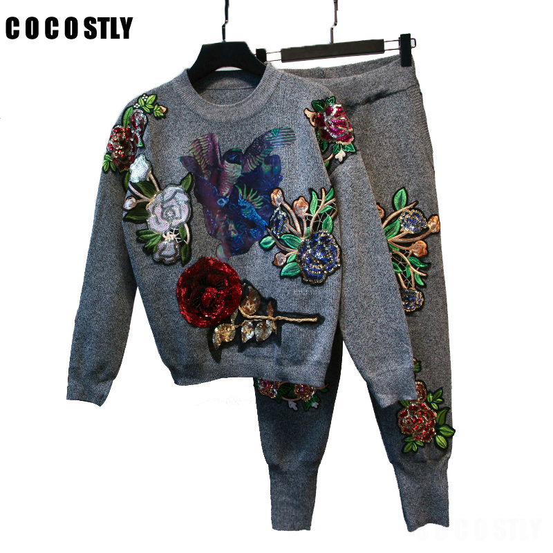2 Piece Set Women Sportswear Tracksuits Long Sleeve Women Suit Knitted Embroidery Sweater Pullover Top and Pants Suit