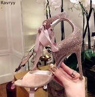 2018 peep toe woman high heel bling bling female dress shoes lace up sandals stiletto pumps OL out fits elegant party shoes