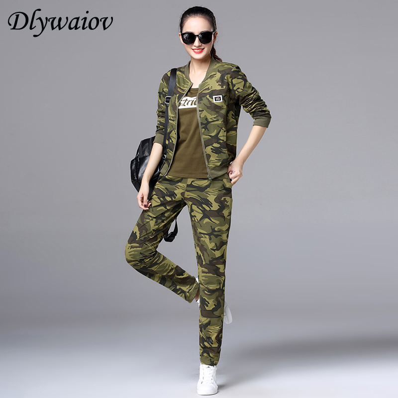 2019 Spring New Modis camouflage sportswear suit women Fashion Cardigan Running Casual Three piece Suit Female