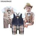 2015 Brand New Baby Boy Rompers Suit European Gentlemen Baby Boy Formal Clothing Set Rompers for Weddings Baby Boy Outwear, C089