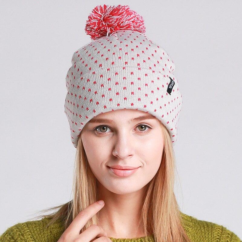 New Autumn Winter Fashion Women Pompom Beanies Knitting Cute Pink Dot Hat Ear Warm Cap Girl Skullies Beanies skullies beanies winter woman fashion knitting hats with pompom beanies girls warm letter b cap