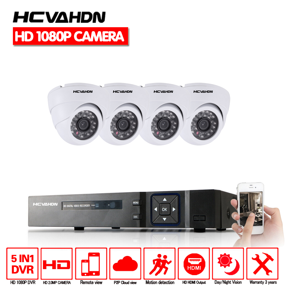 AHD CCTV System 1080P Dome White indoor Security Cameras 4channel ahd DVR system 4ch camera kit