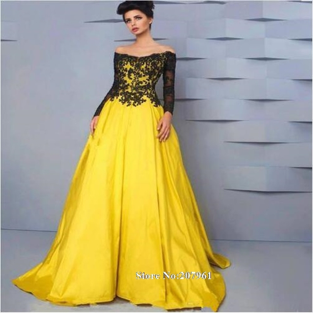 Yellow and black prom dresses