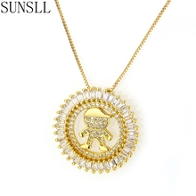 SUNSLL Golden Color Copper Cubic Zirconia Child Diameter 2.7cm Round Pendant Necklaces Women's fashion Jewelry Colar Feminina
