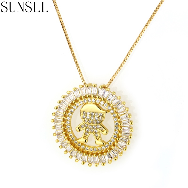 SUNSLL Golden Color Copper Cubic Zirconia Child Diameter 2.7cm Round Pendant Necklaces Women's fashion Jewelry Colar Feminina