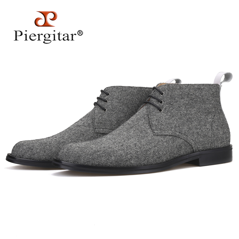 Piergitar Handmade Gray Color Men Classic CHUKKA Boot Autumn/Winter Styling Men Shoes Lace-up Men Ankle Boots All Leather Insole