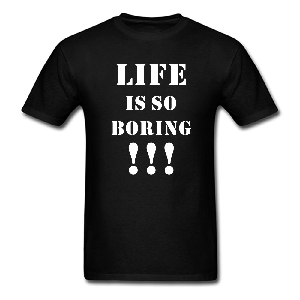 New Life is So Boring Brand Clothing Print Cool T Shirt Harajuku Punk O Neck Short Sleeve Tees Tops Cotton Shirts Men Women