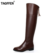 Free shipping over knee natrual real genuine leather high heel boots women snow winter warm shoes R5017 EUR size 34-42