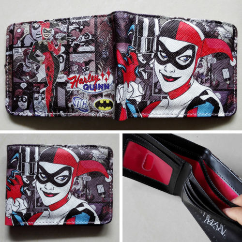 2018 DC Comics Batman Harley Quinn Logo wallets Purse Multi-Color 12cm Leather purse W125 брелок dc comics batman logo
