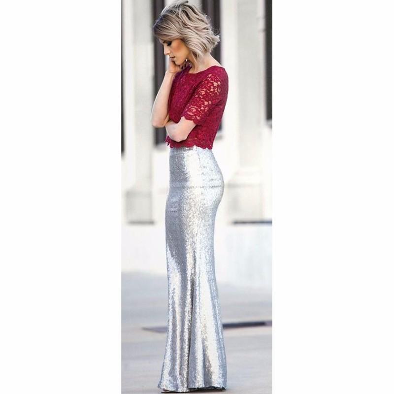 4bKickin\' Up Stardust Blush Sequin Maxi Skirt