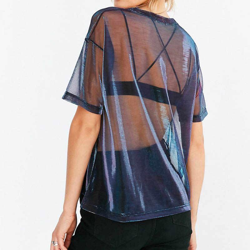 2019 חדש אופנה קיץ נשים חלול שקוף עגול צוואר קצר שרוול חולצה חולצות לראות דרך חולצה harajuku tshirt