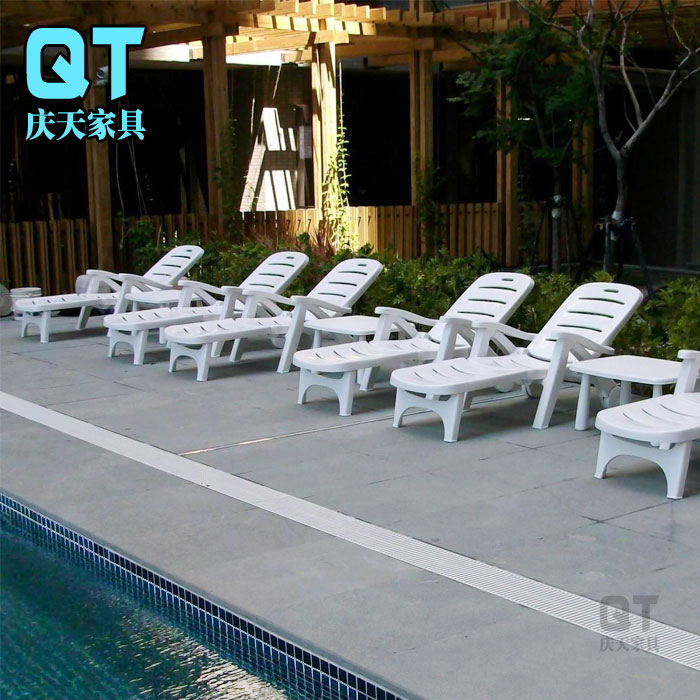 White Beach Loungers Indoor And Outdoor Balcony Lying Bed Pool Lounge Chair  Portable Folding Chair Plastic Beach Chairs In Sun Loungers From Furniture  On ...