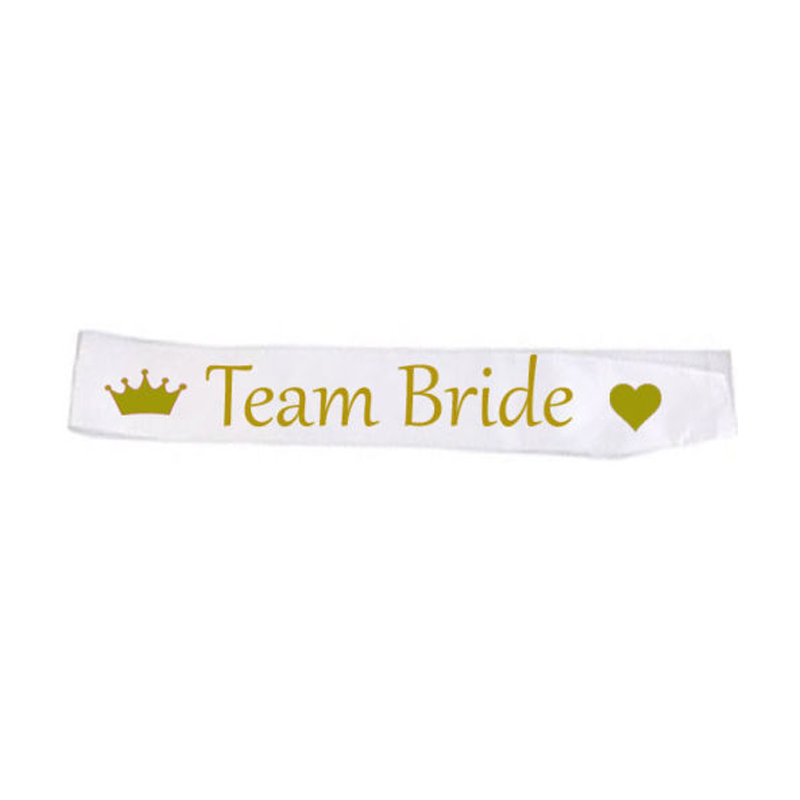 Hot Sale Hen Party White Satin Sash Set Bride To Be Team Bride Girls For Bridal Shower Wedding Decorations Bachelorette TB11 (2)