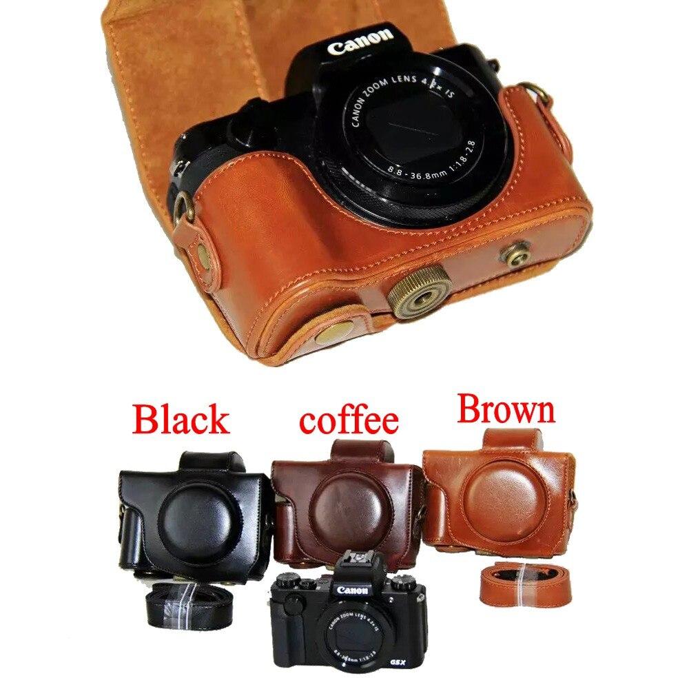 Nouveau Pu Camera Case En Cuir Pour Canon Powershot G5X G-5X Appareil Photo Vintage Sac de poche De Couverture avec la courroie