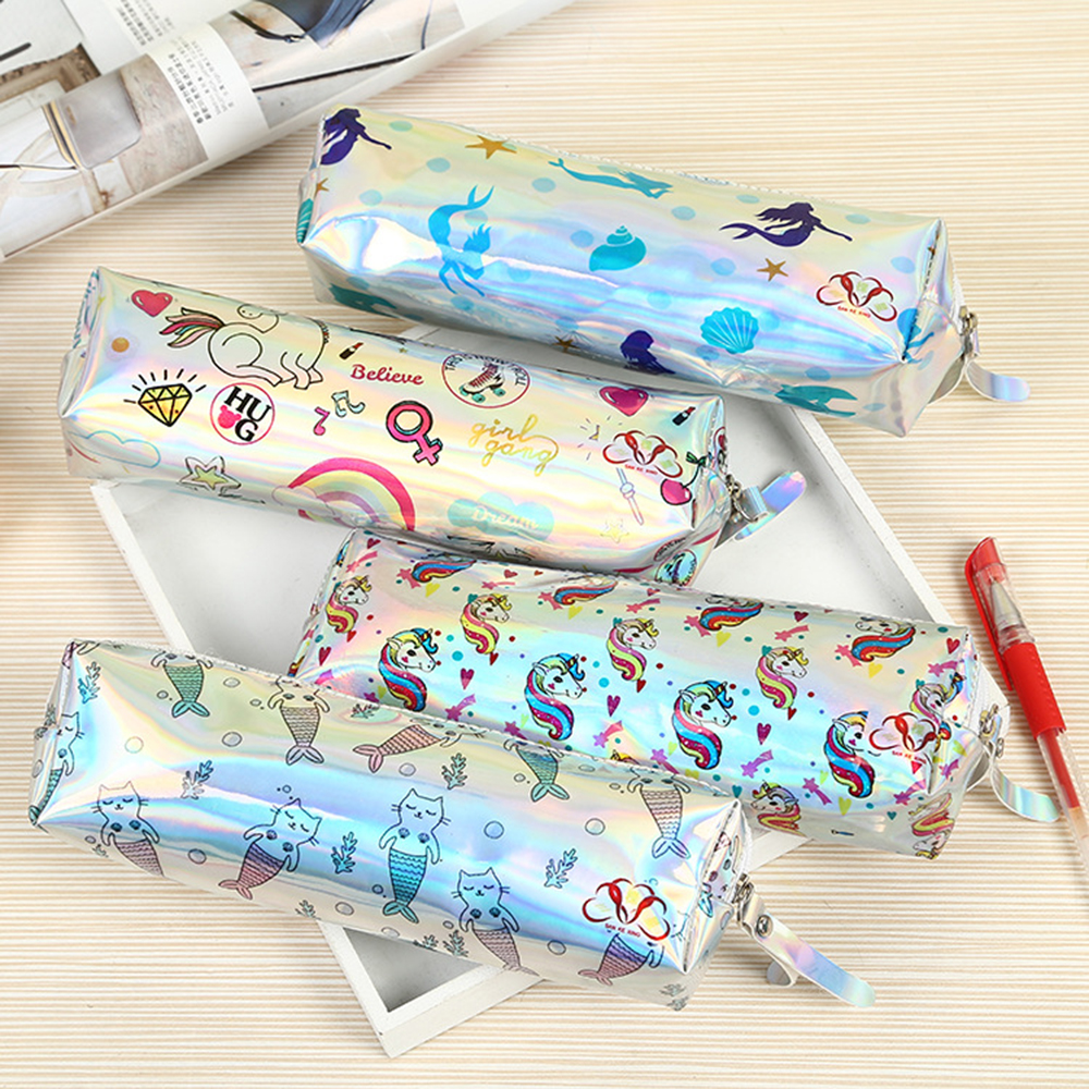 Cartoon Laser Pencil Bag Case Unicorn Cat Mermaid School Cosmetic Girl Women Student Stationery