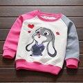 Meninas novas Camisetas de manga longa moda coelho impressão tops tees roupas para meninas O Pescoço crianças meninas roupas roupas para crianças