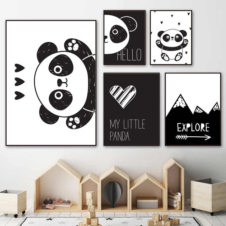 Lovely Panda Wall Art Canvas Painting Black White Cartoon Nordic Posters And Prints Canvas Picture Kids Baby Room Bedroom Decor
