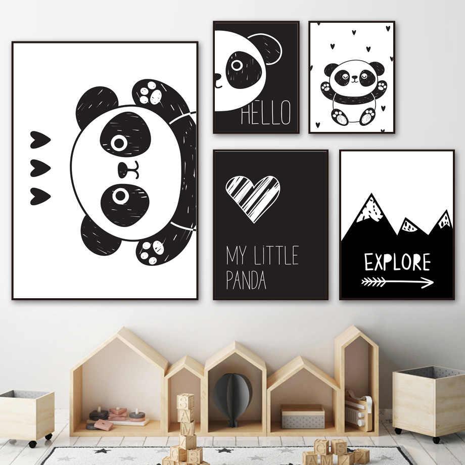 Panda Dinding Art Lukisan Hitam Putih Kartun Nordic Poster dan