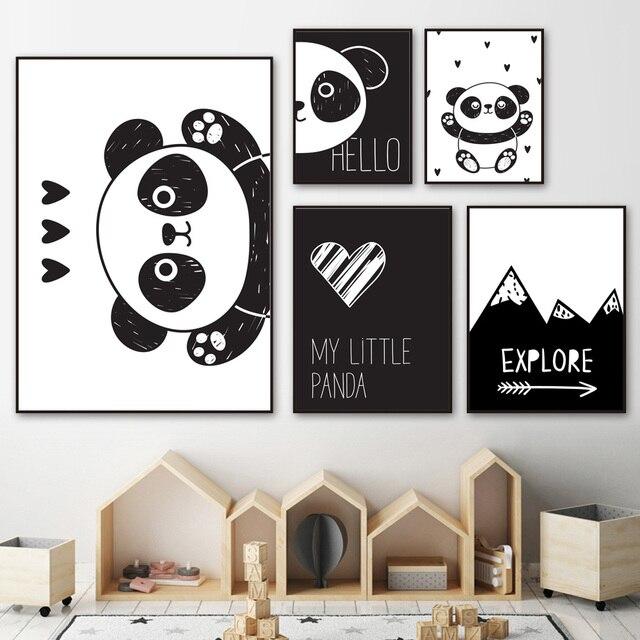 Прекрасный Panda Wall Art Холст Картина черный, белый цвет мультфильм плакаты на скандинавскую тему и отпечатки Холст Картина Дети Детская комната Спальня Декор