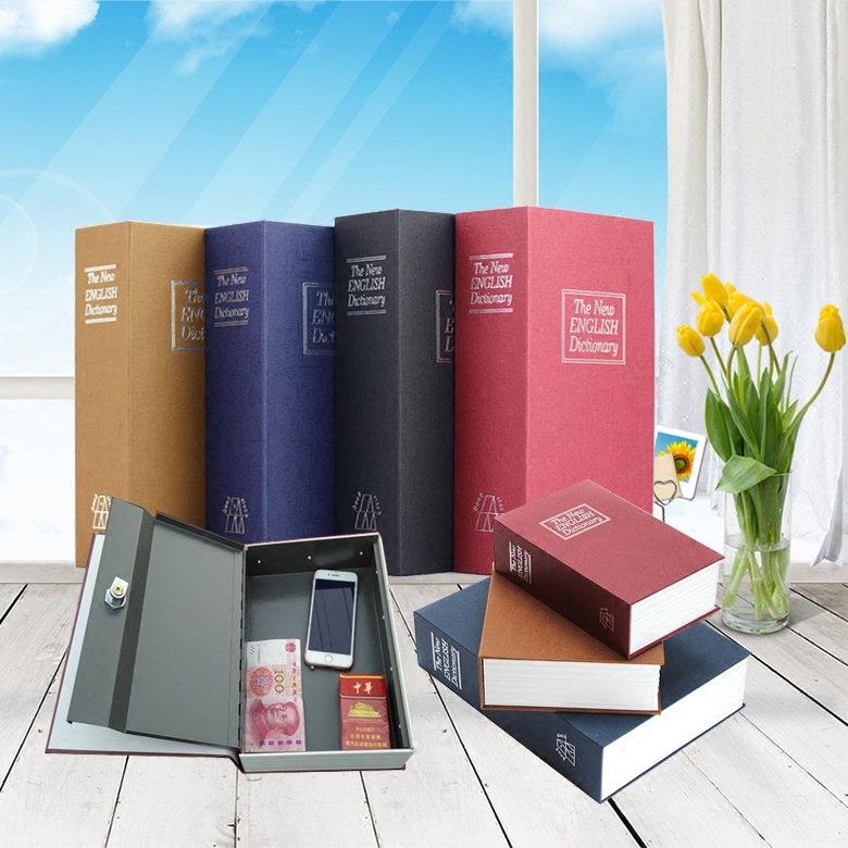 18*11.5*5.5cm Book Safe Box Secret Stash Security Secret Key Hidden Lock Money Compartment Cash Hide Case Storage Locker Can