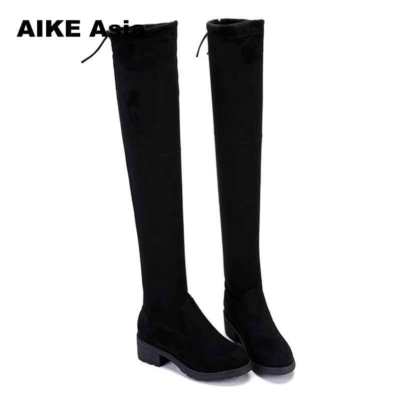 Talla 34-41 botas de invierno por encima de la rodilla para mujer de tela elástica de pierna alta y sexy con cordones para mujer zapatos planos larga Bota femenina