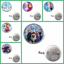Fashion Glass Round Jewelry Anime Ice Romance Brooch Charm Cute Cartoon Children Badge Female Role-playing Gift Souvenir Game