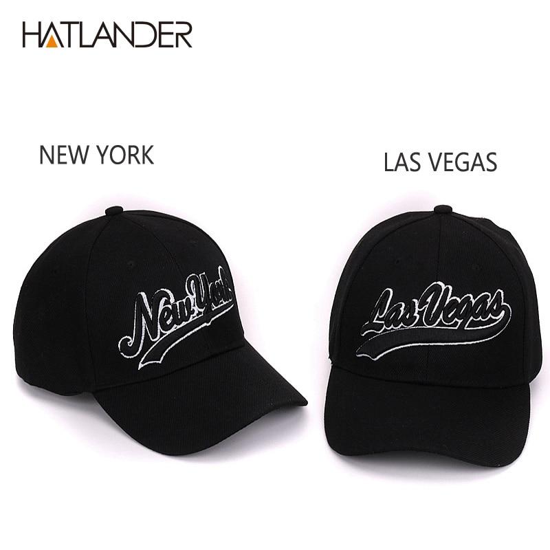 Hatlander New York black baseball caps Las Vegas adjustable sports cap  gorras chapeau bone hats homme letter casual caps unisex-in Baseball Caps  from ... 947e2d92e64