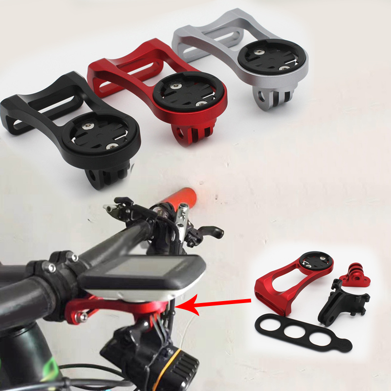 Mountain Road Bike Bicycle Stem Extension Frame Code Table Holder Cycling Aluminum Alloy +Camera Conversion Seat + Light Clip