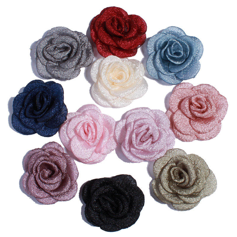 120PC 5 5CM Artificial Satin Burned Peony Flower Hairpin Hair Clip Apparel Headwear DIY Accessories For